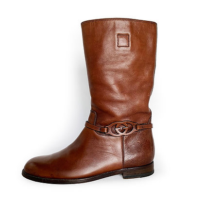 GUCCI BROWN LEATHER GG PULL ON BOOTS