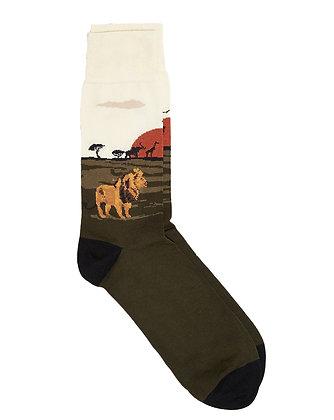CORGI Cotton Blend LION socks made in Wales UK