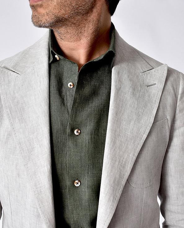 THE TBco. RESERVE FRESCO GREEN LINEN DRESS SHIRT