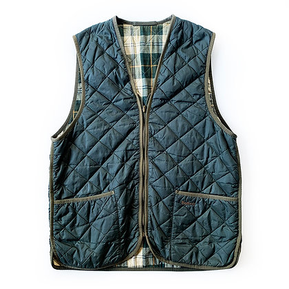BARBOUR QUILTED NYLON GREEN HUNTER ZIP UP VEST