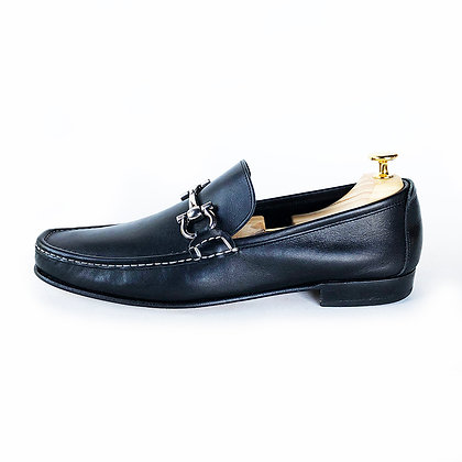 FERRAGAMO BLACK LEATHER HORSEBIT LOAFER SHOES size 10.5
