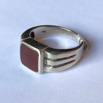 Vintage Deco Carnelian Sterling Silver Ring