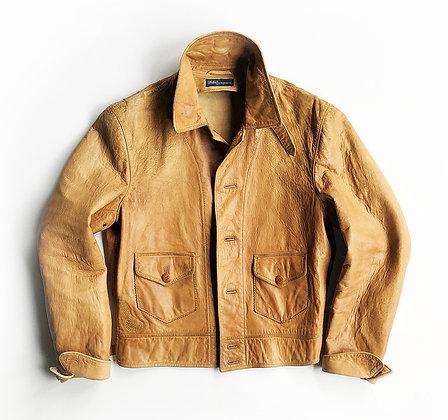 Polo Ralph Lauren light Brown Leather Ranch Trucker Jacket