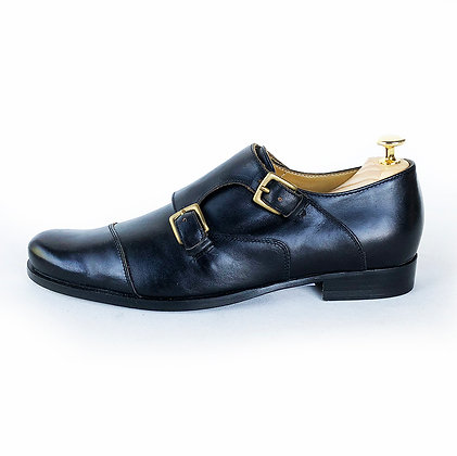 BILLY REID BLACK LEATHER DOUBLE MONK STRAP SHOES size 9
