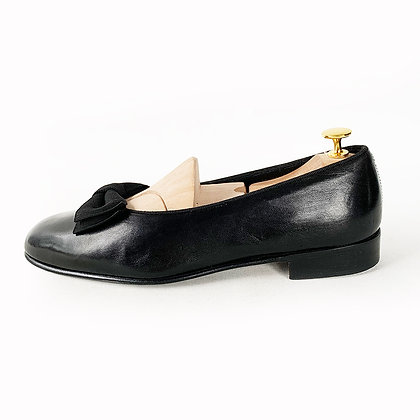 RALPH LAUREN BLACK LEATHER TUXEDO BOW TIE SLIPPERS size 8.5