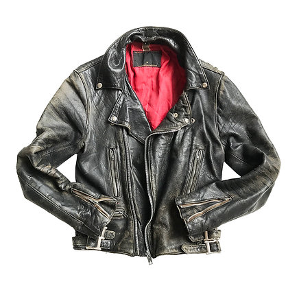 VINTAGE LEATHER BIKER JACKET WITH RED LINING