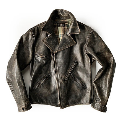 DOUBLE RL DARK LEATHER JACKET
