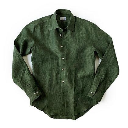 THE TBco. FRESCO GREEN ITALIAN LINEN DRESS SHIRT