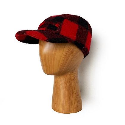 ORIGINAL VINTAGE RED/BLACK PLAID WOOL HUNTING HAT