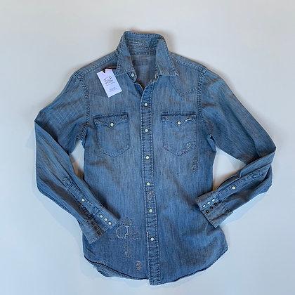 Ralph Lauren Distressed Repaired Denim Shirt Size Large