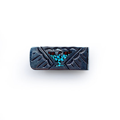 VINTAGE NATIVE AMERICAN TURQUOISE  MONEY CLIP