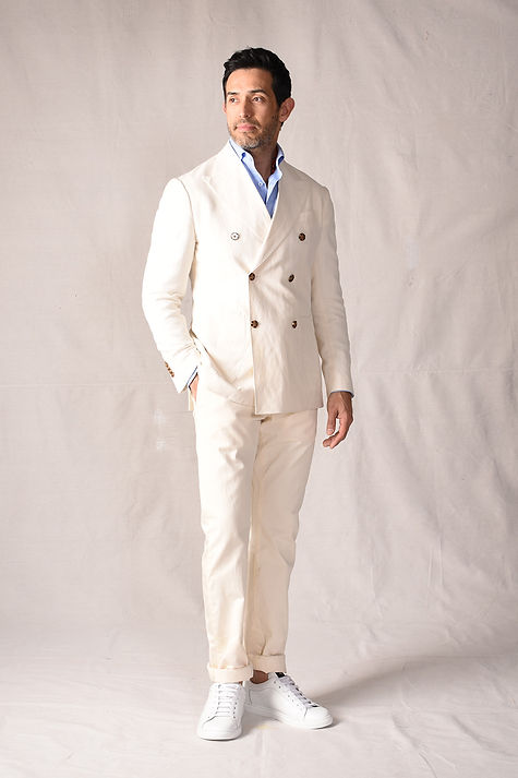 White silk linen double breasted suit bl