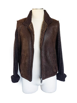 PURDEY BROWN LEATHER SHEARLING KNIT SLEEVES