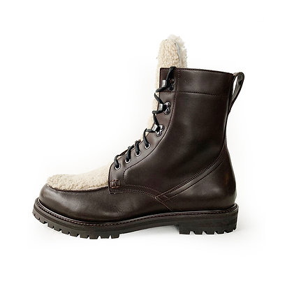 AQUATALIA IRA BROWN LEATHER SHEARLING LACE UP BOOTS size 13