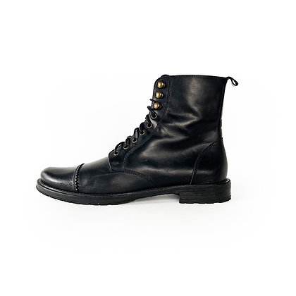 BILLY REID BLACK LEATHER CAP TOE LACE UP BOOTS