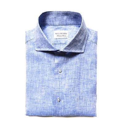 FRESCO BLUE ITALIAN LINEN DRESS SHIRT