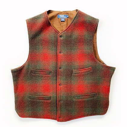 POLO RALPH LAUREN PLAID WOOL BLANKET BUTTON-UP VEST