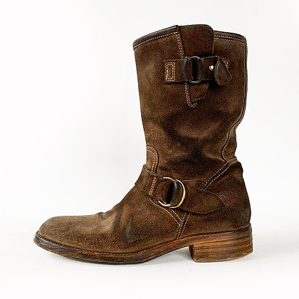 BUTTERO BROWN SUEDE HARNESS ROUGH CUT ENGINEER BOOTS