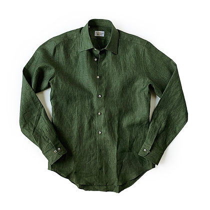 THE TBco. FRESCO GREEN ITALIAN LINEN DRESS SHIRT