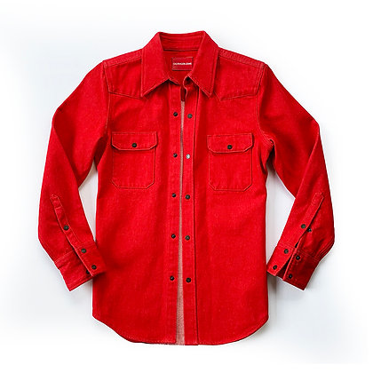 RAF SIMONS CALVIN KLEIN RED DENIM SHIRT