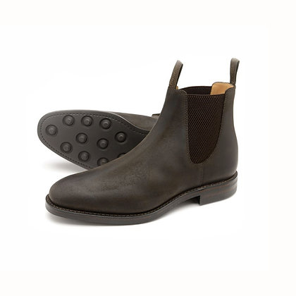 LOAKE 1880 CHATSWORTH Waxed brown suede chelsea boots