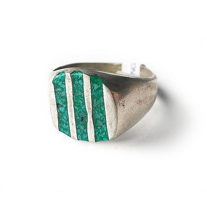 JADE AND SILVER STRIPED RING