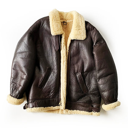 B3 TYPE DARK BROWN LEATHER SHEARLING BOMBER
