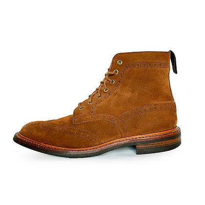 TRICKER'S BROWN SUEDE WINGTIP LACE UP BOOTS