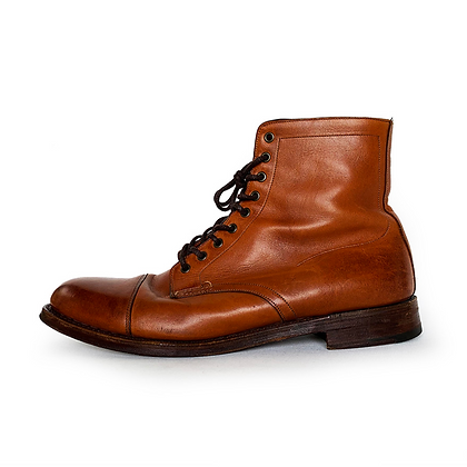 DOUBLE RL BROWN LEATHER LIVINGSTONE LACE UP BOOTS