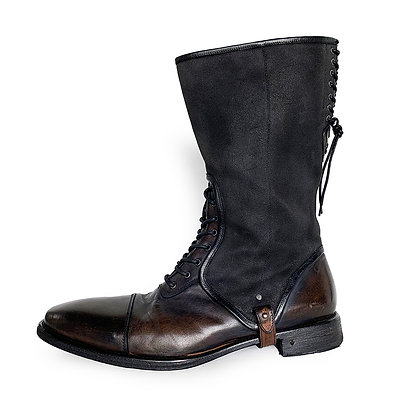 JOHN VARVATOS DARK BROWN/BLACK LEATHER/WAXED CANVAS TALL LACE UP BOOTS