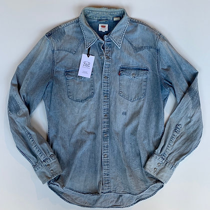 Levi's  light distressed denim shirt size L