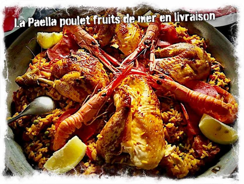 Paella fruits de mer et poulet boucané
