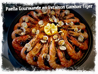 Paella Gourmande finition Gambas Black Tiger