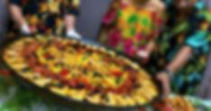 Paella Créole fruits de mer et Langoustines. Dés d'Ananas. Le TOUCANS PAELLA
