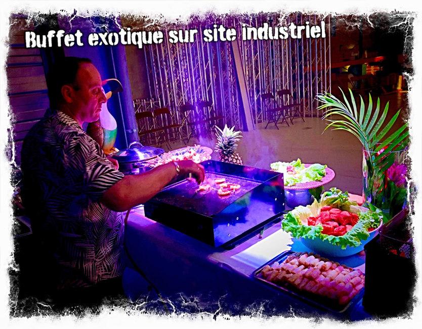 Buffet exotique sur site industriel