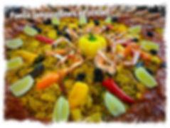 Paella langoustines et poulet le TOUCANS PAELLAS
