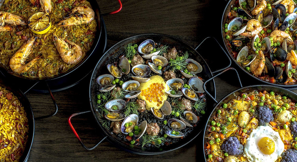 Paella végétarienne, Paella négra, Paella fruits de mer, Paella tapas style