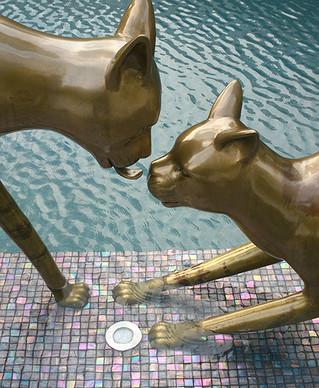 Cat Lover Sculpture Brass
