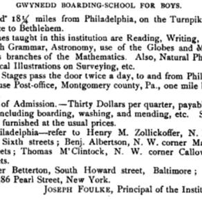 Joseph Foulke, Sr. and Gwynedd Boarding School