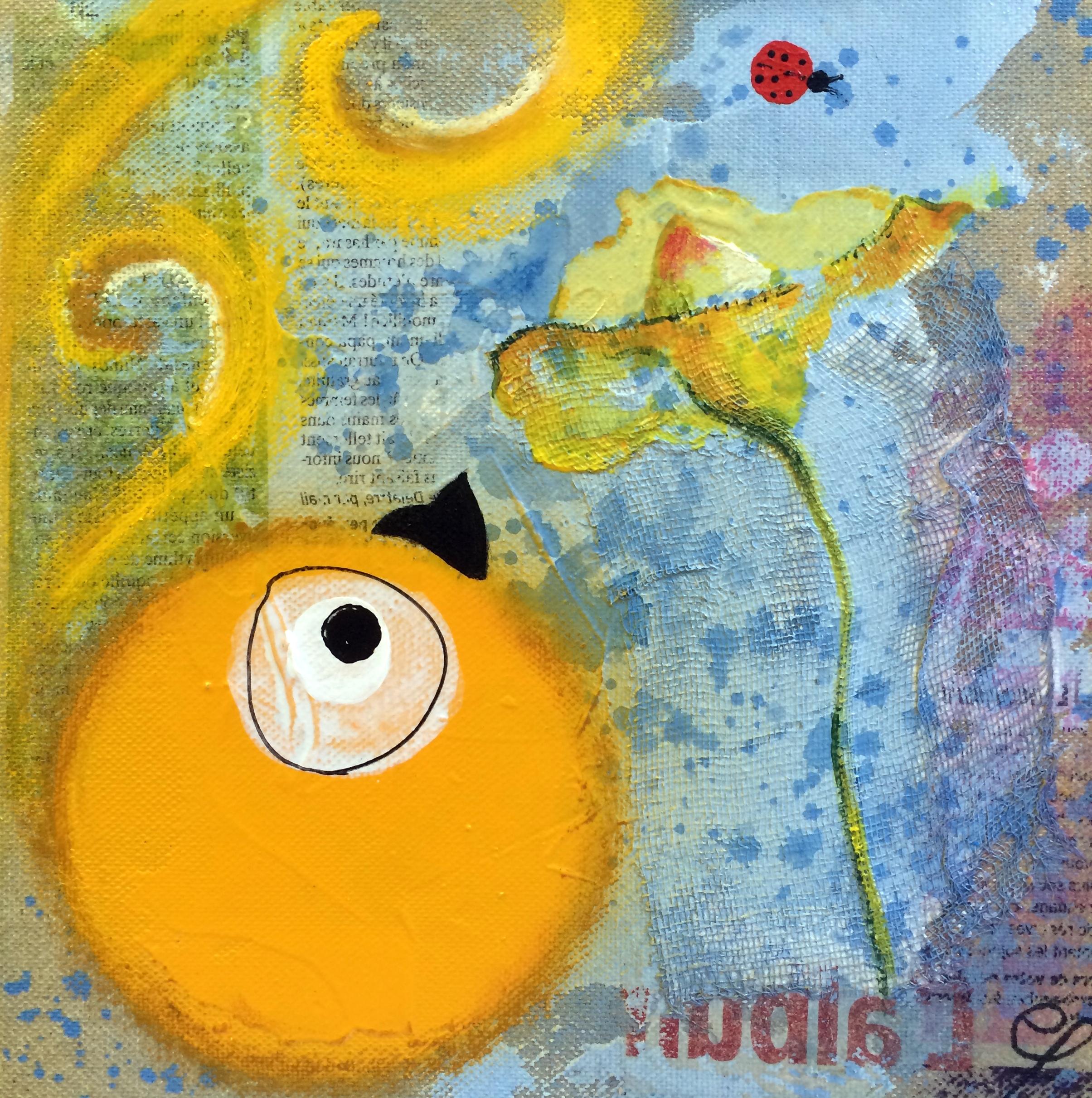 Toizo et la fleur (20x20cm) tech