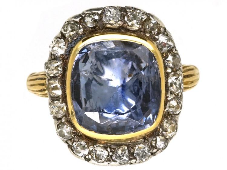Georgian style yellow gold sapphire ring with diamonds