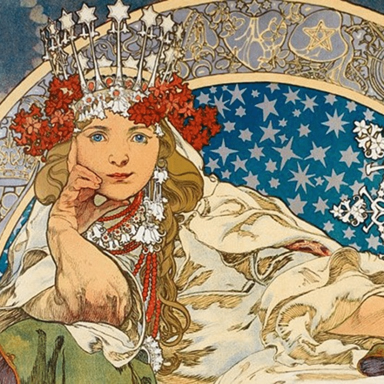 Princess Hyacinth Art Nouveau paining by Czech painter Alphonse Mucha from 1911