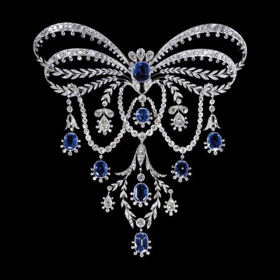 Edwardian style bow design brooch with diamonds and gemstones
