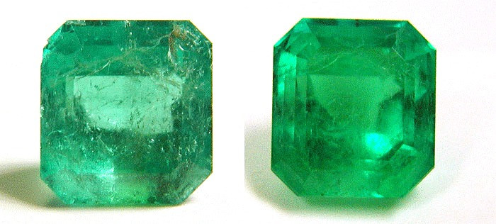heavily fractured square emerald cut emerald before and after oiling on white background