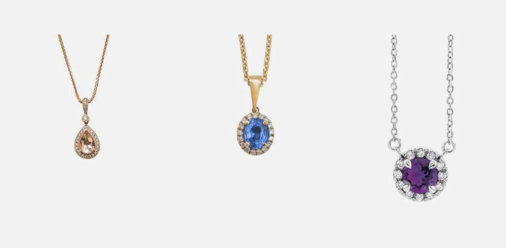selection of pendants pear shape morganite oval tanzanite round amethyst diamond halo with chain in white yellow and rose gold on white background