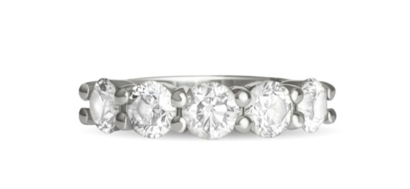 Five stone anniversary band with five round Canadian diamonds set in white gold