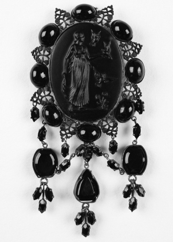Victorian style black mourning cameo brooch with beads