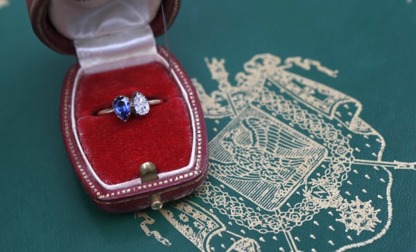 Napoleon Josephine sapphire and diamond toi et moi engagement ring in red box