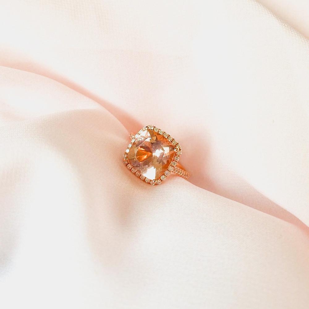 Cushion morganite and diamond halo rose gold engagement ring