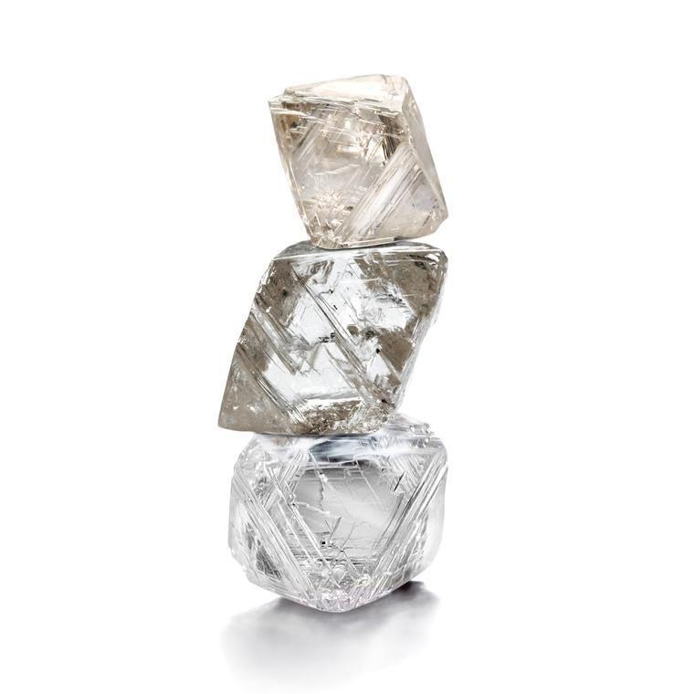 stacked rough diamonds